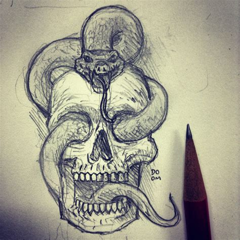 How To Draw A Skull With A Snake Wwwpixsharkcom