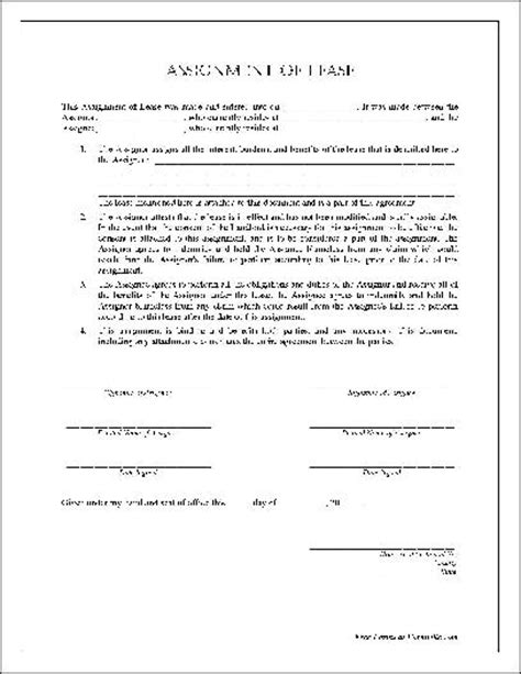 free assignment of lease form assignment form free printable documents