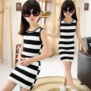 2016 Children Girls' Summer Dress Black & White Stripes ...