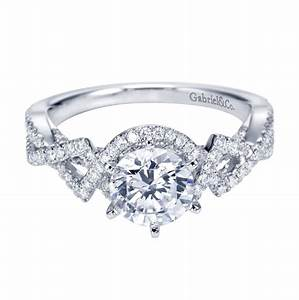 gabriel co 14k white gold criss cross halo engagement ring With criss cross wedding ring