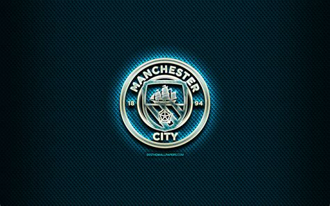 Download wallpapers Manchester City FC, glass logo, blue ...