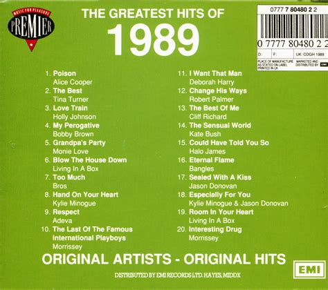 Go down memory lane with 1989 oldies music. Various CD: The Greatest Hits Of 1989 (CD) - Bear Family Records