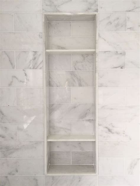 carrara marble shower niche clean  pinteres