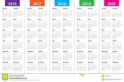 Calendar 2016 2017 2018 2019 Vector Illustration