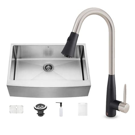 farmhouse faucet kitchen vigo all in one farmhouse stainless steel 33 in 0
