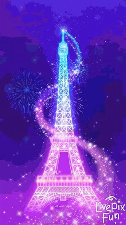 Eiffel Tower Fireworks Neon Happy Paris Wallpapers