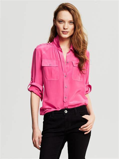 banana republic blouses banana republic silk utility blouse pink lipstick in pink