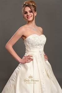 ivory strapless a line satin wedding dresses with beaded With ivory satin wedding dress