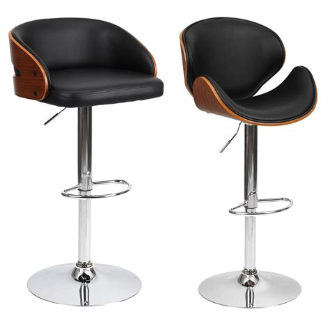 Breakfast Bar Chairs by Barstool Chair Walnut Bentwood Faux Pu Leather Swivel