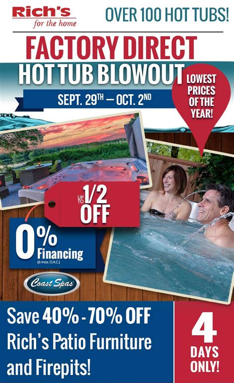 factory direct tub and patio clearance blowout rich
