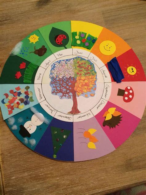 jahreszeitenkalender kindergarten basteln jahreszeiten