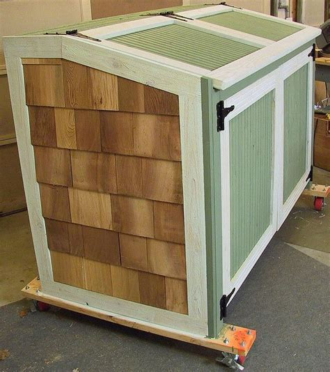 trash can shed wood garbage can holder woodworking projects plans