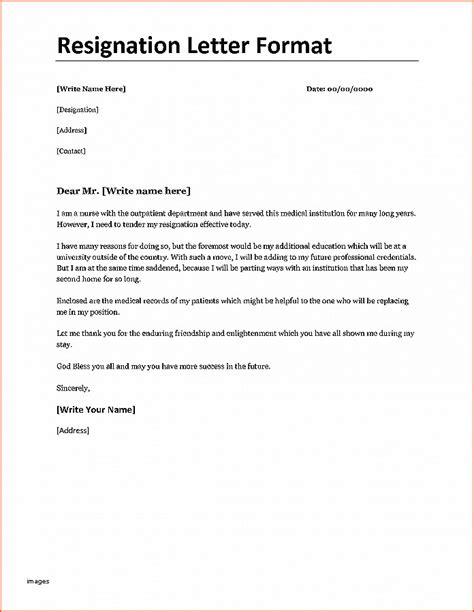 resignation letter format resignation letter exle of resign letter inspirational 10883