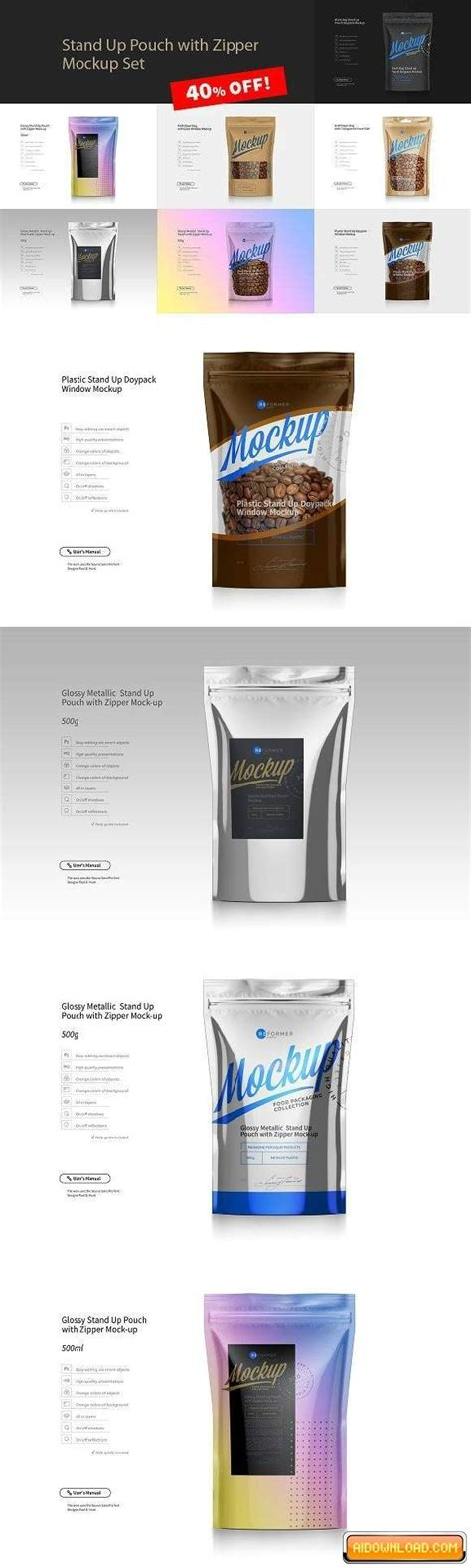 Free aluminium coffee standing pouch packaging mockup psd. Stand Up Pouch Mockup Set | Free Graphic Templates, Fonts ...