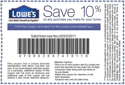 98466 11 Lowes Coupon by Lowes Save 10 Coupons Printable Coupons