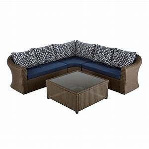 Hampton bay maldives brown wicker patio sectional set with for Outdoor sectional sofa sunbrella