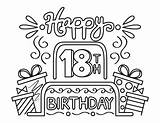 Coloring Birthday 18th Cake Presents sketch template