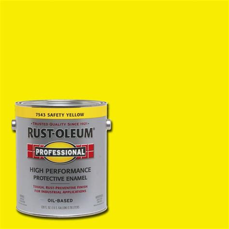 rust oleum professional 1 gal safety yellow gloss protective enamel case of 2 7543402 the