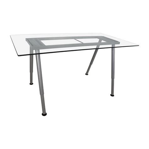 glass top trestle desk 64 off glass top trestle table with metal base tables
