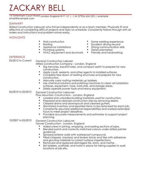 Construction Resume Sles Laborer by Construction Labourer Cv Exle For Construction Livecareer