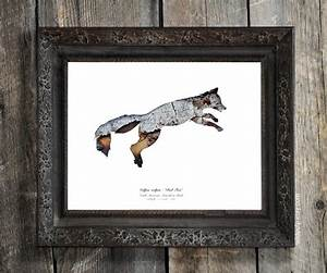 Fox Silhouette In Bark : Woodland Animal - Eco Decor