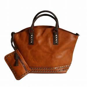 Sacs à Gravats : sac main cabas marron clous avec pochette assortie ~ Nature-et-papiers.com Idées de Décoration
