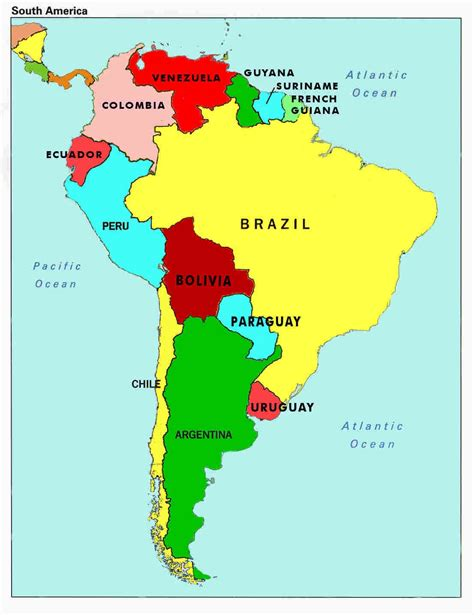 map  south america countries  capitals map  south