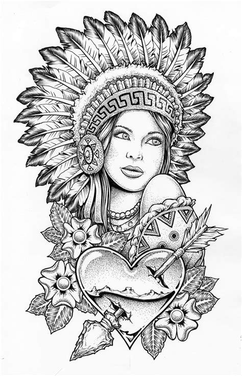 Indian woman with conflict bonnet on #coloringbooks | badass | Coloring pages to print