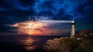 Sunset, Lighthouse, 4k, Wallpapers