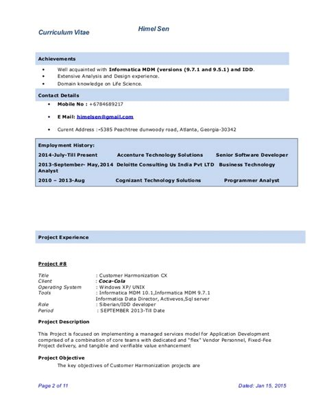 Informatica Resumes With 4 Years Experience by Informatica Developer Resume Resume Informatica Idq 4
