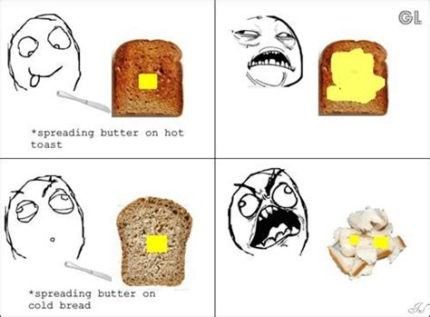 Apreading Butter On Hot Toast & On Cold Bread By Serkan
