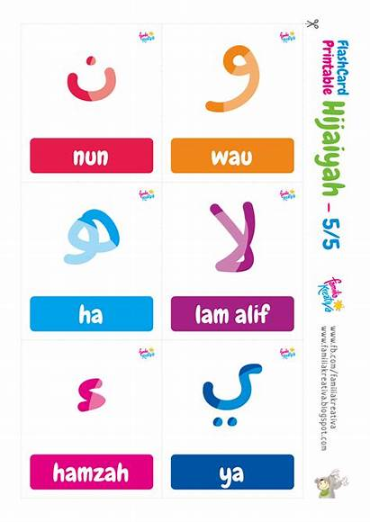 Hijaiyah Flashcard Huruf Gambar Printable Abjad Arabic