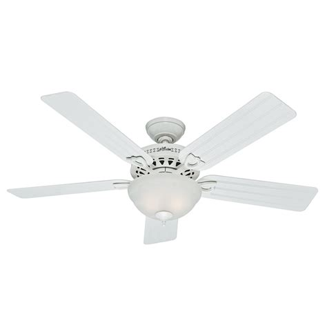 lowes flush mount white ceiling fans shop hunter beachcomber 52 in white outdoor downrod or