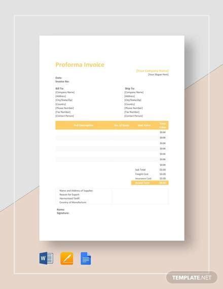 sample proforma invoice template  google docs