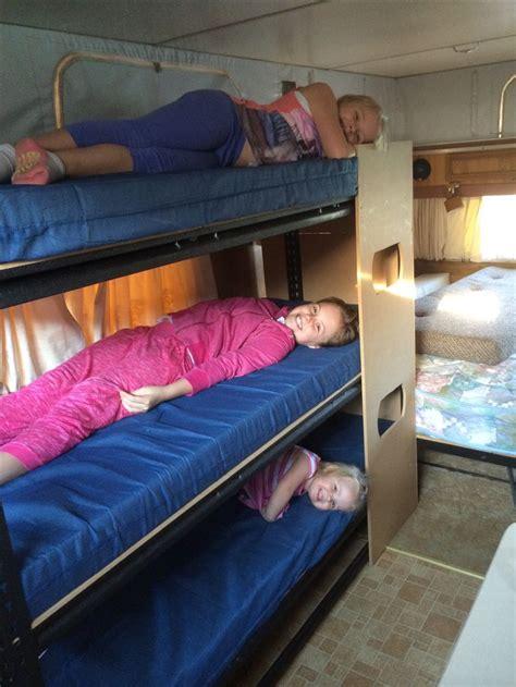 rv bunk mattress bunk made from garage shelving from bunnings