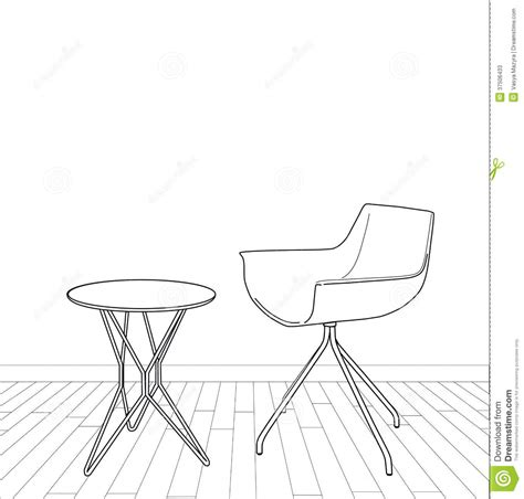 table et chaise design sketch of modern interior table and chair stock photos