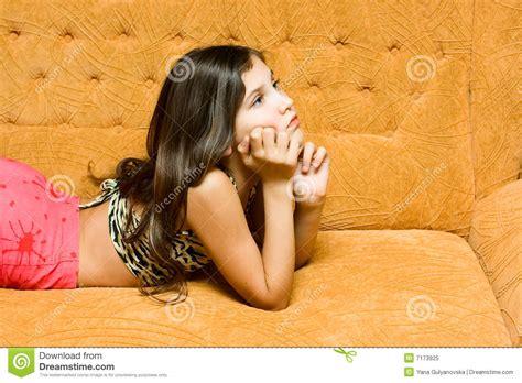 Teen Girl On The Sofa Stock Image Image Of Light Hobby 7173925