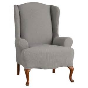 stretch seersucker wing chair slipcover paradise blue