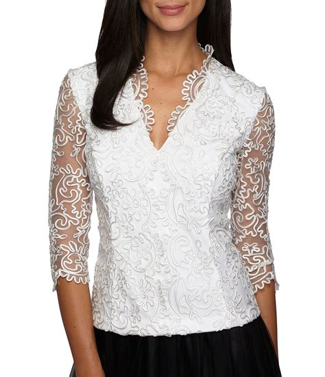 dressy blouses for wedding alex evenings embroidered scallop blouse dillards