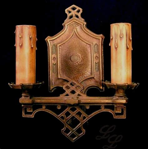 vintage pair arts crafts wall sconce light fixtures from
