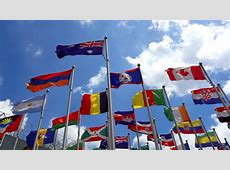 Flags Of Countries Around The World Is Flying Stock
