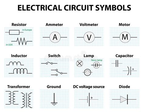 common circuit diagram symbols stock vector image 68934130
