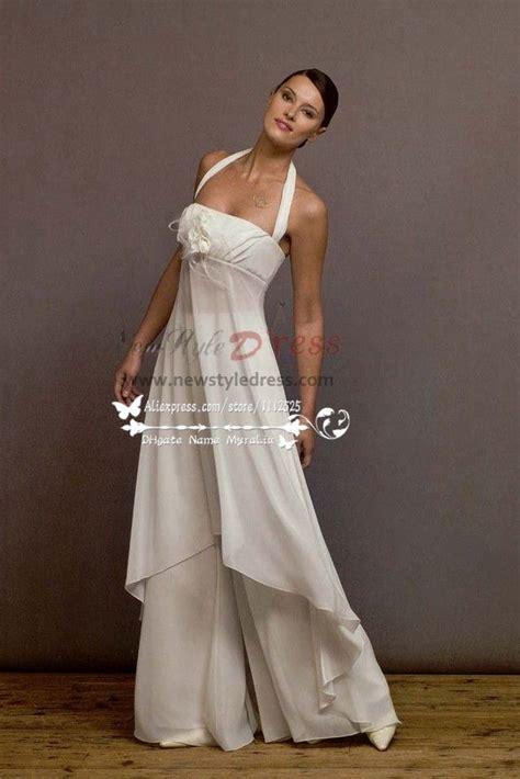 white chiffon jumpsuit dress  beach wedding wps