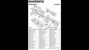 Shimano Curado 200 E7 Manual Despiece  Catalog Parts Reel