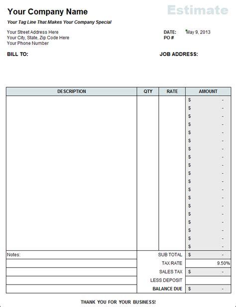 Free Estimate Template Free Contractor Estimate Template Excel