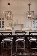 Photos Of Kitchens With Pendant Lights by White Kitchen Cross Mullions On Glass Windows Dark Floors Pendant Light