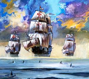 christopher columbus 39 s fleet painting by school