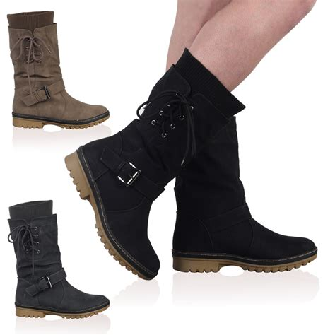 womens boots footwear faux leather womens casual grip calf high boots shoes size 5 10 ebay
