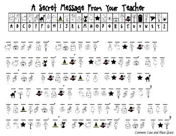 Halloween Secret Message From Your Teacher (decoding) October Tpt