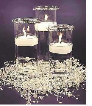 white crystal centerpiece cylinders floating candles